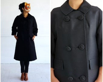 Vintage 1950's Long Black Silk B Jacket by Ehrenberg Brothers | Medium