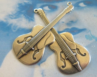 Sterling Silver Ox Plated Brass Guitar Charms 1143SOX x2