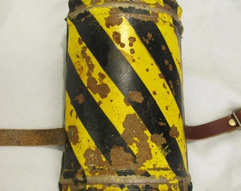 Rusty caution stripe Fallout style shoulder armor