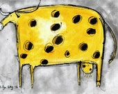 a4 ink painting - cheese cow
