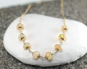 AAA Ethiopian Opal chain necklace, 14k Gold Filled Necklace, Choker Necklace, Floating Necklace, October Birthstone, Gift for Her