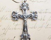 Elegant Sterling Silver Crucifix - Antique Reproduction