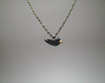 Small Blackbird Necklace - Polymer Clay Jewelry