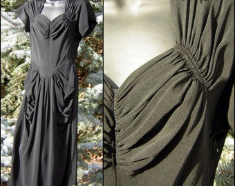 40s Party Dress Black Rayon Faille Wonderful Ruched & Shirred Bodice Draped Hip SEXY Fit