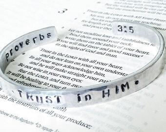 TRUST in HIM - handstamped silver cuff bracelet