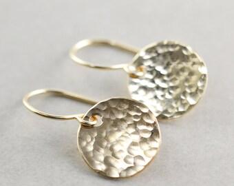 Hammered Disc Earrings, Gold Disc Earrings, Textured Coin Earrings
