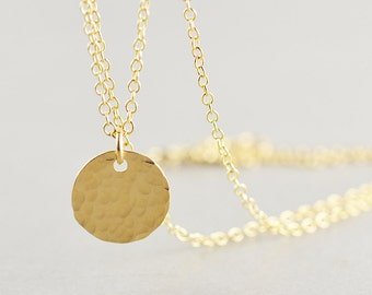 Hammered Disc Necklace, Gold Disc Necklace, Gold Coin Necklace