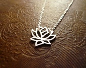 Silver Lotus Necklace. Sterling Silver Lotus. Silver Blooming Flower Necklace. Lotus Flower Necklace. Solid Sterling Silver Lotus Necklace
