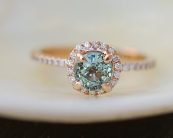 Green sapphire ring. 1.16ct Sparkling green sapphire ring. Round sapphire diamond ring. 14k rose gold engagement ring by Eidelprecious