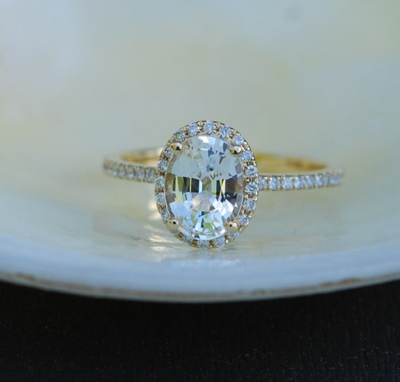 White Sapphire Ring. Yellow Gold Engagement Ring oval 14k yellow gold diamond ring. Engagement rings by Eidelprecious.