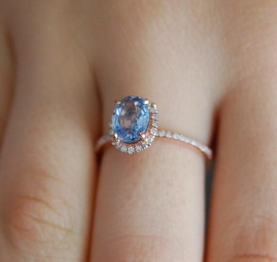 1.41ct Caribbean Blue sapphire ring. Rose gold engagement ring, diamond ring. Oval sapphire ring. Engagement rings by Eidelprecious.