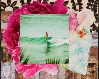 GLASSED BELINDA SLIDE, Best Seller, 4x4 and Up, Belinda Baggs, Hand Painted, Hand-Glassed artwork, wood panel, ocean, surfing, wall art
