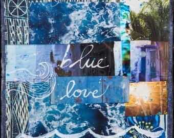 Top Seller, BLUE LOVE, 8x10, 11x14, 16x20, Hand-Signed matted print, Ocean, wall art, Ocean Art, Blue, Turquoise, Love, Inspirational, Sea,