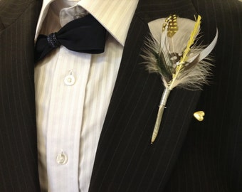 Feather Boutonniere Lapel Pin for the Dapper Gent Groom Groomsmen