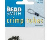 100 Black Oxide Gunmetal Plated Crimp Tubes 1.5x1.5mm