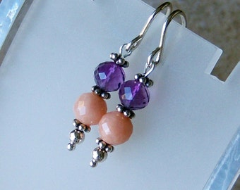 Genuine Peruvian Pink Opal, Amethyst Dangle Earrings, Sterling Silver, Cavalier Creations