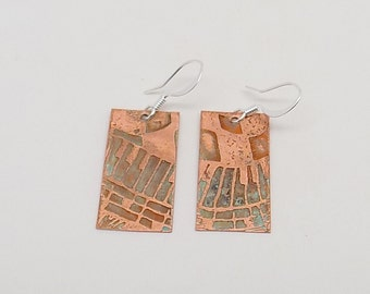 Etched copper steampunk jewelry . earrings. Steampunk jewelry earrings.