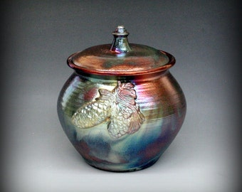 Raku Urn, Raku Pottery, Pet Urn with Pinecones in Metallic and Iridescent Colors
