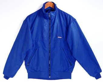 80's  Patagonia jacket // ELECTRIC BLUE ski jacket // made in USA // Capilene fleece-lined jacket // size S