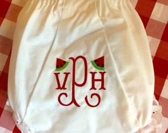 Embroidered Monogram Watermelon Bloomers Diaper Cover Panty Baby Child