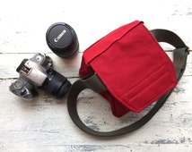 Red Waxed Canvas SMALL size Digital Padded Camera Bag Ready to Ship