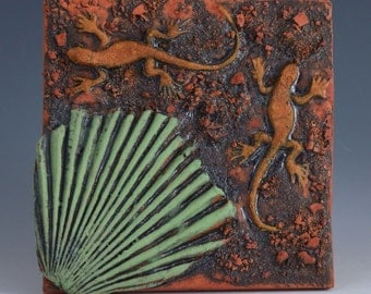 Decorative Ceramic Tile  2 lizards and and palm leaf Wall Tile