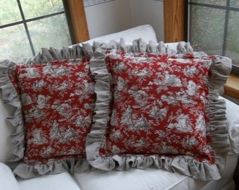 Pair Ruffled Toile Pillows Custom Sizes Red Toile Linen Pillows Red Woodland Toile Decorative Pillows Woodland Toile Pillow Ruffled