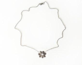 Wirewrap smoky quartz necklace, smoky quartz flower, flower necklace, brown flower necklace, stainless steel chain, teardrop quartz stones