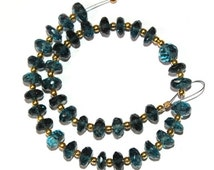 55% OFF SALE 38Pcs Genuine London Blue Topaz Faceted Rondelle Beads Briolette Size 6x6 mm Gemstone Briolette Semiprecious Beads B12