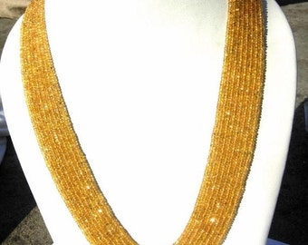 55% OFF SALE 25 Percent off - 8 Strand Necklace of Finest Quality Golden Songea Sapphire Faceted Rondelles, Length 17 - 19 Inch Size 2.5 -3.