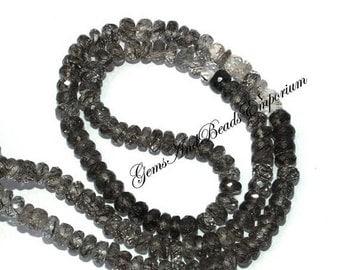"55% OFF SALE 8"" 4-5 mm Natural Black Rutilated Quartz Micro Faceted Rondelle Beads, Semi Precious Gemstone Beads, Black Rutile Beads"