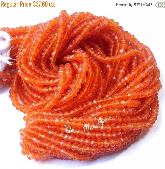 55% OFF SALE AAA Very Beautifull Carnelian Micro Faceted Rondelles Size 3.5Mm Length 14 Inches Long