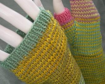Long Gloves Arm Warmers Sunshine Stripe Luxury Merino Fingerless Gloves Fingerless Mitts
