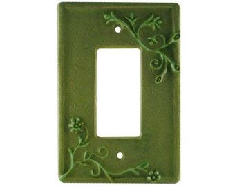 Vine Ceramic Single Rocker Switch Plate in Green Velvet Glaze