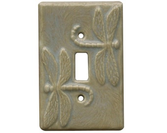 Dragonflies Ceramic Single Toggle Light Switch Cover in oyster glaze