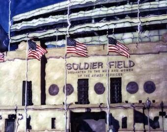 Soldier Field Polaroid SX-70 Manipulation - 8x8 Fine Art Photograph, Wall Decor