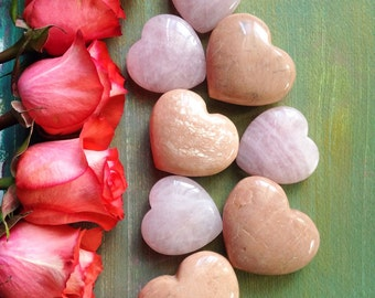 Peach Moonstone Crystal Hearts!  Perfect for lovers!