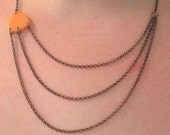Three Chain Bakelite Triangle Necklace  - 17 inches