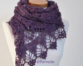 Lace crochet shawl, Purple, P451