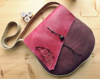 Leather Messenger Bag,across body bag, POD 3105 mischief pink, plum, oatmeal
