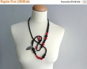Statement grey black red necklace coral jewelry