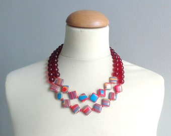 Red colorful statement necklace double strand