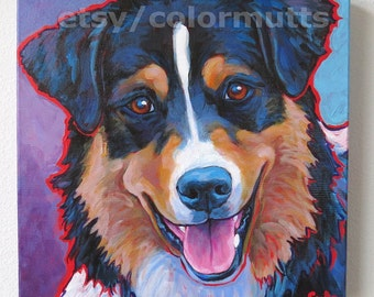 Tri-color AUSSIE Dog Original Art Painting by Lynn Culp 12x12