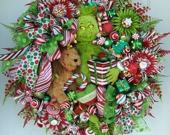 Pre-order 2016 Custom Order, Christmas wreath, Grinch wreath, Holiday wreath, Front door wreath, Grinch plush,  Door wreath