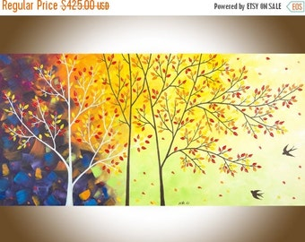 """Colourful abstract painting landscape oil painting Palette Knife canvas art birch autumn swallows large wall art""""Flying Home"""" by qiqigallery"""