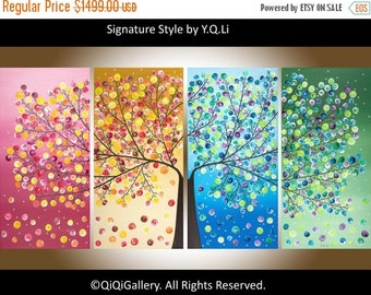 "Made To Order -72"" Huge Abstract Landscape Valentine's day gift four seasons Tree Office Wall Decor ""365 Days of Happiness"" by qiqigallery"