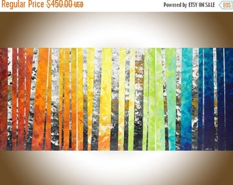 "54""Autumn Birch Rainbow color set of 3 painting Colorful modern art red yellow orange blue green wall art Oil landscap canvas art wall decor"