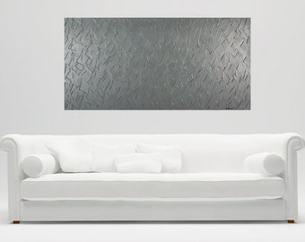 Grey Abstract art grey Modern art large wall art wall decor heavy textured painting on canvas home office decor by qiqigallery