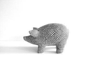 Black and white Piggy Bank Black dots on white hand painted piggy bank one of a kind