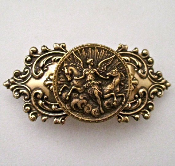 Athena Goddess Brass Ox Barrette, Beautiful